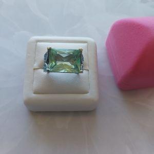 Aquamarine CZ Sterling Silver Ring